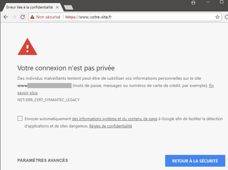 site internet dangereux car manque de certificat ssl